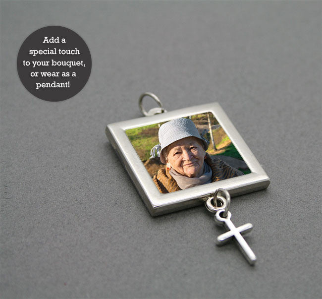 Bridal Wedding Bouquet Photo Charm w/ Dangling  Cross - Photo Jewelry Making
