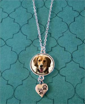 Paw Print Photo Jewelry Pet Necklace w/ Chain Set - Photo Jewelry Making