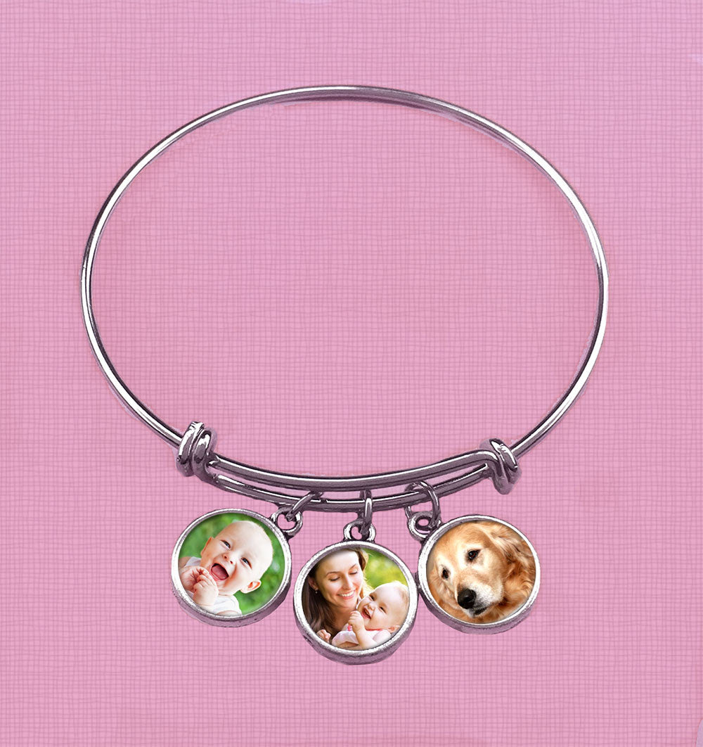 Silver Wire Cuff Bangle Bracelet Kit w/ 3 Dangling Photo Charms