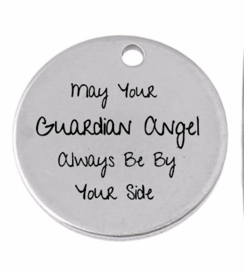 May Your Guardian Angel Pendant Disc Necklace 30mm or 1 1/4 Inches