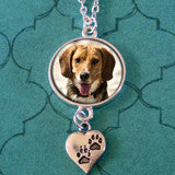Paw Print Photo Jewelry Pet Necklace w/ Chain Set