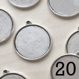 20 pack Round Double Sided  Photo Jewelry Pendants Silver 1 inch