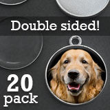 20 Pack Silver Double Sided Photo Frame Charms w/ Glass 25mm 1 Inch Globe Effect
