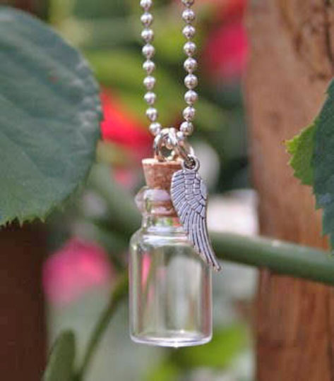 Mini Glass Trinket Bottle w/ Ball Chain & Angel Wing Charm