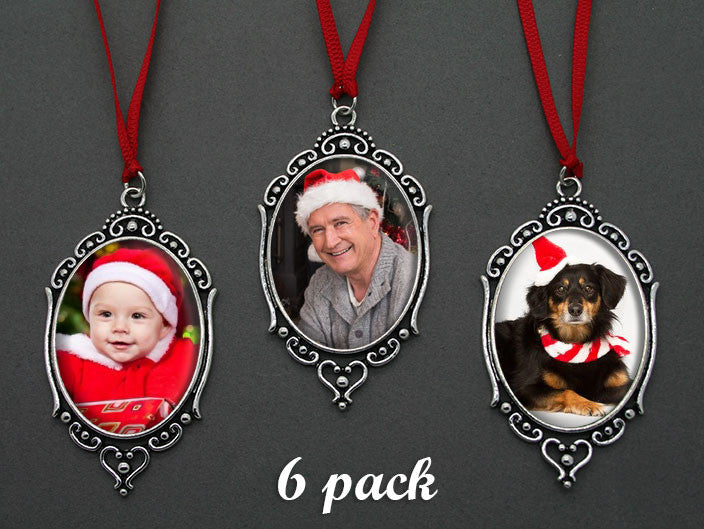 6 Pack Vintage Style Oval Photo Christmas Ornament Blanks Decorations w/ Red Ribbon Hangers Kit Photo Jewelry