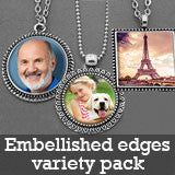 Supply Pack w/ Necklaces Photo Jewelry Embellished Edges Pendants w/ Glass