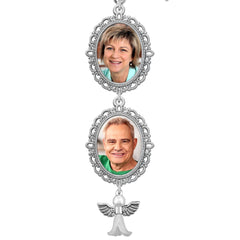 Twin Frame Cascading Wedding Bridal Photo Bouquet Charm Pin w/ Guardian Angel Charm