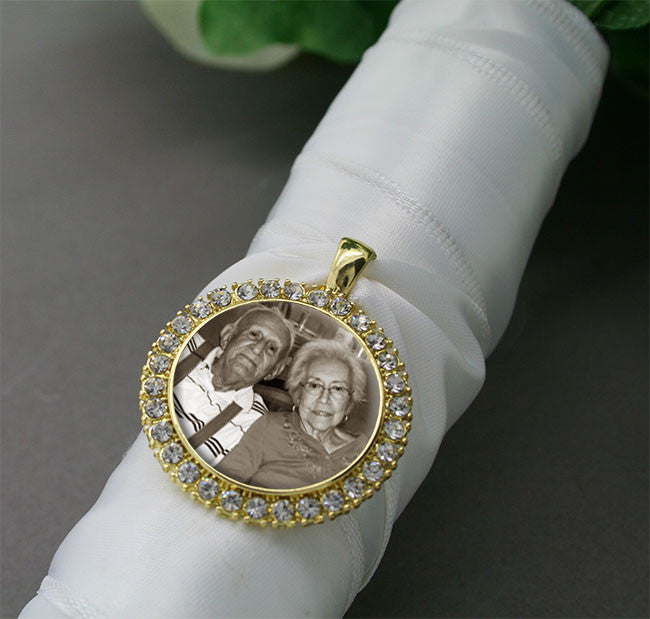 Gold Rhinestone Wedding Bouquet Photo Charm - Photo Jewelry Making