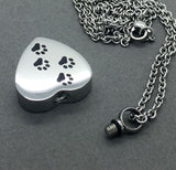 Four Paws Pet Dog Memorial Ashes Holder Urn Heart Necklace