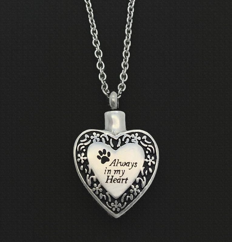 Paw Print Pet Cremation Memorial Ashes Holder Urn Heart Necklace