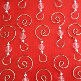 6 Swirled Christmas Decoration Photo Ornament Hooks Beaded Hangers