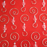 12 Swirled Christmas Decoration Photo Ornament Hooks Beaded Hangers