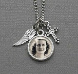 Memorial Cross & Angel Wing Photo Necklace Set