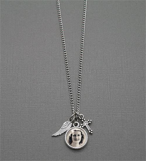 Memorial Cross & Angel Wing Photo Necklace Set - Photo Jewelry Making