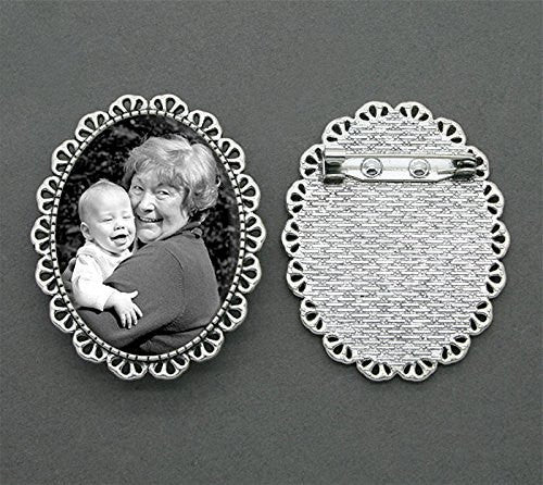 Mothers Day Silver Picture Photo Pendant 40 x 30  with pin