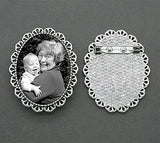 Mother's Day Silver Picture Photo Pin 40x30mm with Pin Back