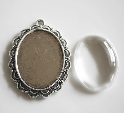 Antique Silver Ornate Edge Photo Pendant w/ Glass 40x30 Photo Area - Photo Jewelry Making