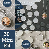 30 Pack Mini Petite Silver Photo Jewelry Pendant Variety Home Business Kit