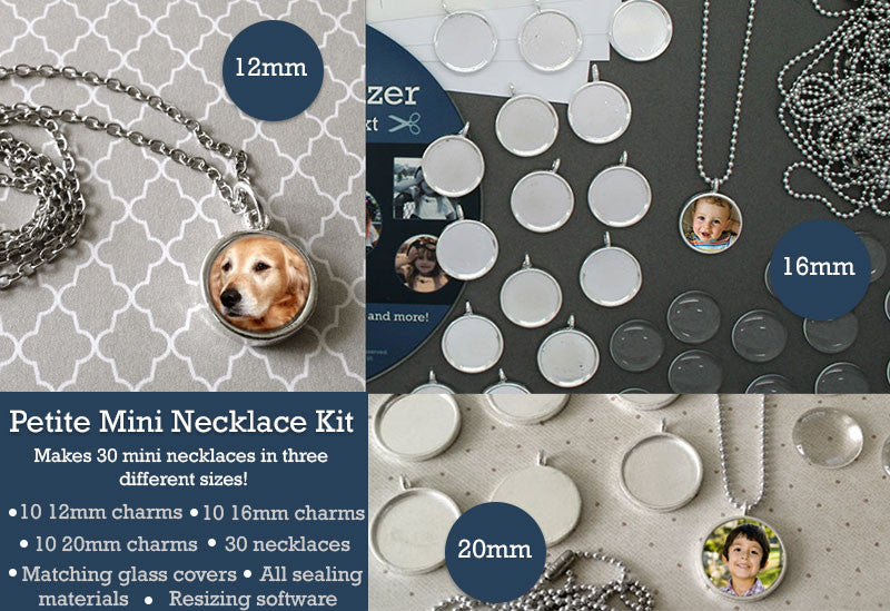 30 Pack Mini Petite Silver Photo Jewelry Pendant Variety Home Business Kit - Photo Jewelry Making