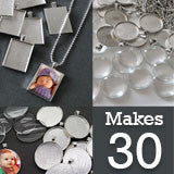 30 Pack Silver Photo Jewelry Pendant Variety Home Business Kit
