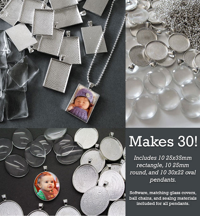 30 Pack Silver Photo Jewelry Pendant Variety Home Business Kit Photo Jewelry
