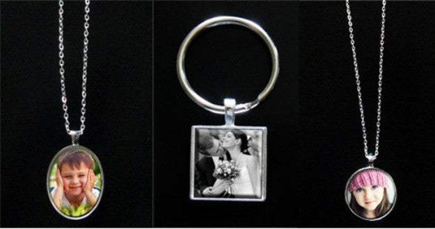 30 Pack Silver Photo Jewelry Necklaces Keychains Variety Kit