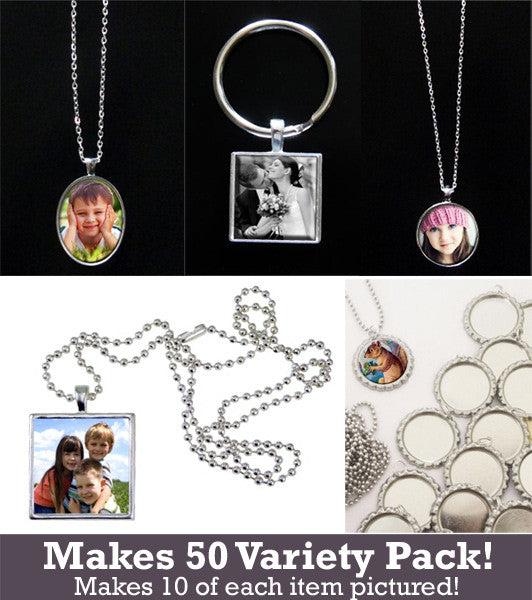 Photo Jewelry StartUp Variety Kit Makes 50 Pendants and Key Chains - Photo Jewelry Making