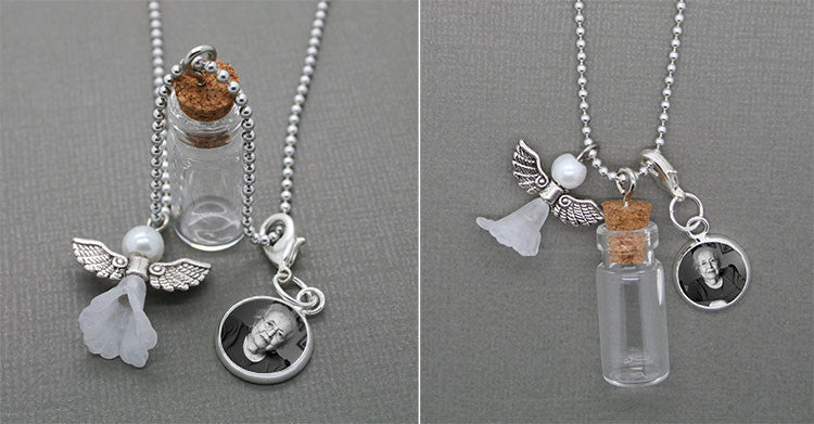 Guardian Angel Memorial Momento Bottle w/ Clip on Photo Charm Set Photo Jewelry