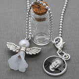 Guardian Angel Memorial Momento Bottle w/ Clip on Photo Charm Set
