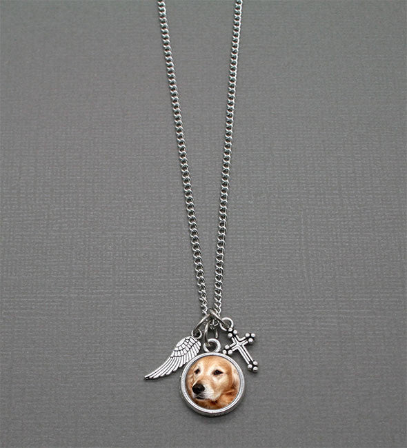 Pet Cross & Angel Wing Photo Necklace Kit - Photo Jewelry Making