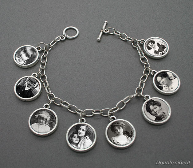 Ancestor Photo Album 8 Frame Picture Bracelet Set- Add 8 or 16 Photos! - Photo Jewelry Making
