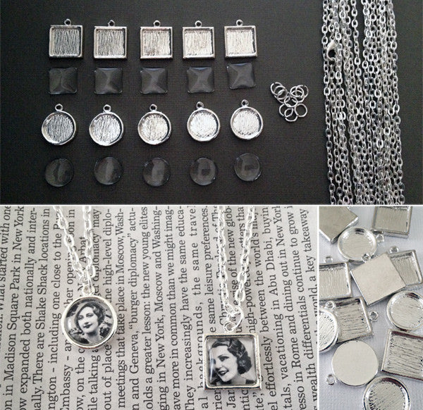 Makes 10 Mini Petite Silver Necklace Kit Circles And Squares - Photo Jewelry Making