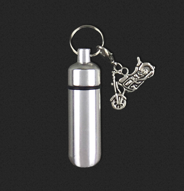 Motorcycle Biker Charm Memorial Ashes Holder Urn Vial Key Chain
