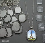Photo Jewelry Octagon Glass Top Photo Pendant 20 Pack w/ Link Chains - Photo Jewelry Making