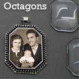 Photo Jewelry Octagon Photo Pendants 20 Pack W/ Glass Covers