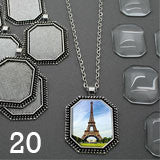 Photo Jewelry Octagon Glass Top Photo Pendant 20 Pack w/ Link Chains