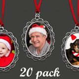 20 Pack Lacy Vintage Style Oval Photo Christmas Ornament Blanks Decorations w/ Red Ribbon Hangers