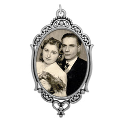 Oval Wedding Bouquet Photo Charm with Clear Cover