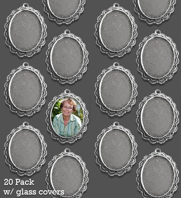 Antique Silver Ornate Edge 40x30 Oval Photo Pendant w/ Glass 20 Pack