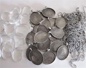 20 Pack Large Antique Silver Oval Photo Pendants w/ Glass and Ball Chains - Photo Jewelry Making