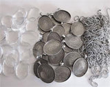 20 Pack Large Antique Silver Oval Photo Pendants w/ Glass and Ball Chains
