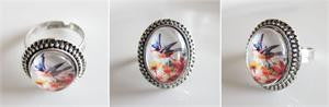 Vintage Style Beaded Edge Photo Ring w/ Dome 10 Pack Photo Jewelry