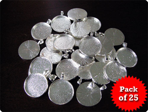 25 Silver Plated Round  Photo Jewelry Pendants  w/ Bail