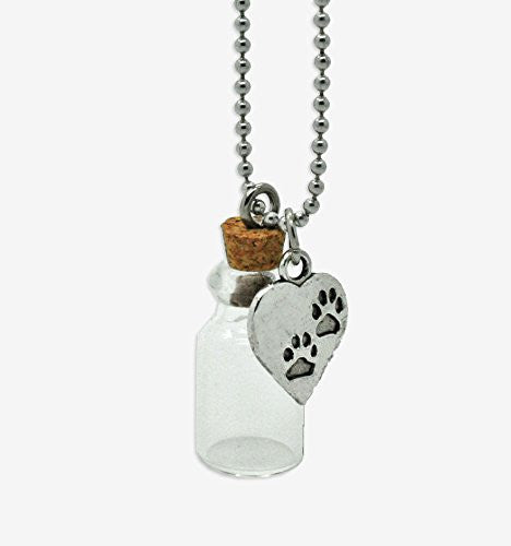 Memorial Ashes Holder Urn Bottle Necklace Container w/ Paw Print Heart Charm - Photo Jewelry Making