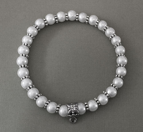 Faux Pearl Stretch Bracelet W/ Decorative Photo Charm Bail