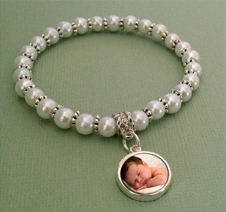 Mini Glass Pearl Photo Jewelry Charm Bracelet w/ Dangle Charm Set