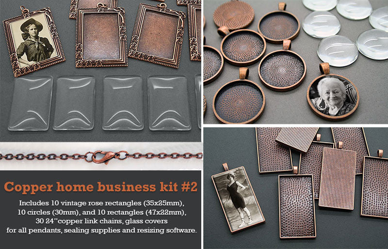 30 Pack Copper Photo Jewelry Pendant Variety Home Business Kit #2 - Photo Jewelry Making