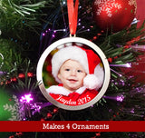 Make Your Own Photo Christmas Ornaments Kit 4 Large 3 Inch Ornaments - Photo Jewelry Making