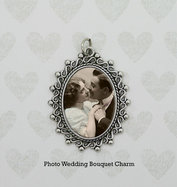 Vintage Look Silver Picture Frame Bouquet Photo Charm - Photo Jewelry Making