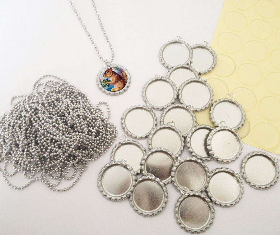 20 Pack Bottle Cap Pendants w/ Krystal Clear-Itz Covers + 20 Ball Chains - Photo Jewelry Making
